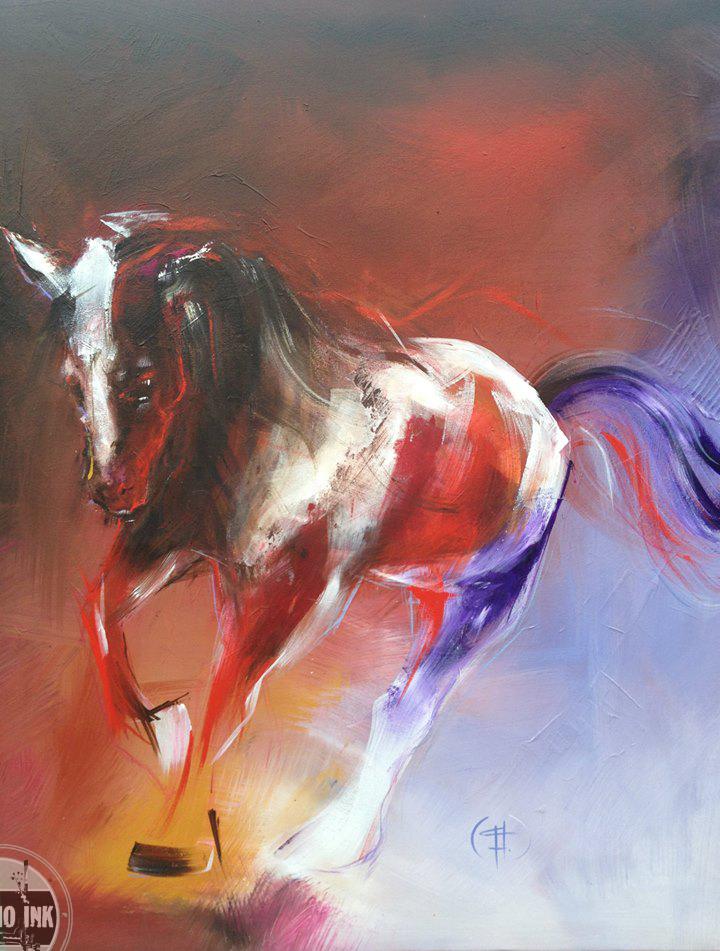 Na de sketch is dit het prachtige schilderij van een paard