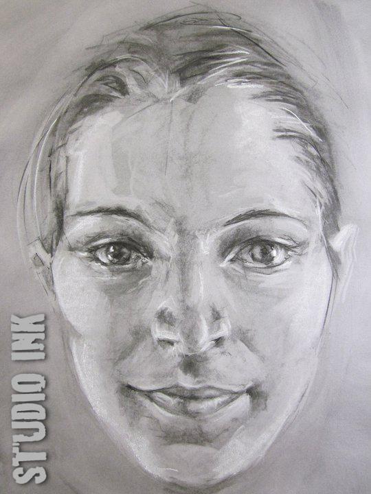 Zwart wit schets voor aanzicht vrouwengezicht