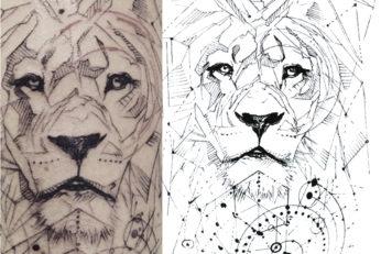 lion sketch graphic tattoo
